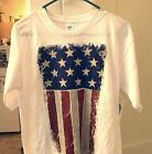 American Flag Mens Shirt Medium USA Patriotic July 4th Labor Vet Red White Blue