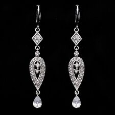 White Gold Plated Clear Cubic Zircon 65*10 mm Drop Earrings