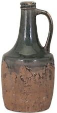 "Rustic Primitive Blue Stone Clay Ceramic Jug Vase Handle Weathered Finish 15"" H"