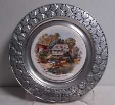 Currier Ives Carson Pewter 10.5 plate Summer American Homestead barn horse/wagon