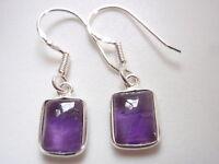 Amethyst Rectangles 925 Sterling Silver Dangle Earrings Corona Sun Jewelry k115b