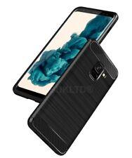 Para Samsung Galaxy A8 (2018) Fibra De Carbono Estuche Cubierta Y Vidrio Protector de pantalla
