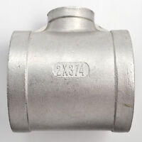 """2""""X3/4""""X2"""" Female Tee Threaded Reducer Pipe Fitting Stainless Steel 304 NPT NEW"""