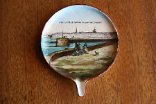 Circa 1880s Normandy France hand painted souvenir, Les Jetees, Dieppe, Jetty