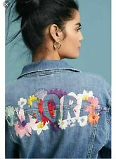 Anthropologie Pilcro Amore Embroidered Floral Denim Jacket NWT $158 XSmall