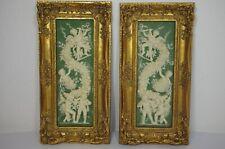 2 Stück Set  Engel Relief 55 cm x 27 cm Goldrahmen 3 Kg  Putto Stuck Barock