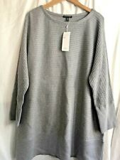 Eileen Fisher Pewter Washable Wool Crepe Rib Knit Boat Nk Tunic Sweater Size XL