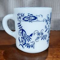 Vintage Hazel Atlas Milk Glass Mug Coffee Cup Blue Onion Floral