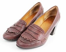CLARKS INDIGO Brown Burgundy Leather Penny Loafer Heels Classic Shoes  Women's 9