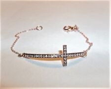 "7.5"" Rose Gold Plated Crystal Sideways Cross Pendant Chain Bracelet"