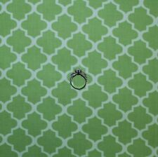 BonEful FABRIC FQ Cotton Quilt Green White Damask Pattern Print Stripe Baby Girl