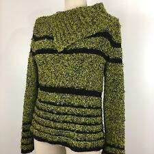 Kenji Womens Sweater Size Medium Assymetrical Collar Green Black Long Sleeve
