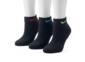 NWT Women's NIKE SX7180-913 3-pk. Easy Cushioned Ankle Socks Black ~ Shoe 6-10