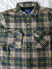 EUC PENDLETON RIDER BLUE SHADOW PLAID VIRGIN WOOL SHIRT M