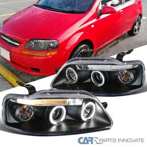 For 04-08 Chevy Aveo 4/5Dr Sedan Hatchback Black LED Halo Projector Headlights