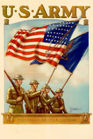 WPA War Propaganda US Army Guradian Of The Colors Recruiting Poster 12x18 inch