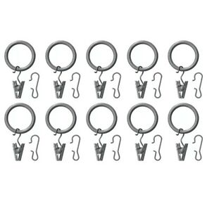 Ikea SYRLIG Curtain ring with clip & hook 202.172.25 silver/gray Pack Of 10 NEW