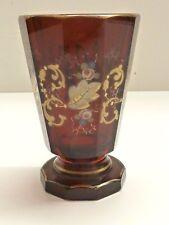 Goldmalerei 14 Cm. Biedermeier Glas 19 Jh.rubinrot Höhe