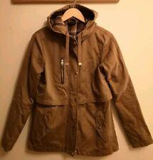 Topshop Parka Jacket Coat Tan Beige Cream Brown Checked Stud Fastening size 10