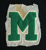 """VINTAGE 1960'S-1970'S SCHOOL LETTER GREEN AND WHITE PATCH 6 1/2"""" X 8"""""""