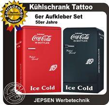 6 teiliges Coca Cola Kühlschrank Aufkleber Set 10 Cent Farbwunsch z.B.für Amica