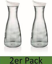 Karaffe 1l mit Deckel weiß 2er Set Dekanter Wasserkaraffe Glaskaraffe Krug Kanne