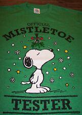 Peanuts SNOOPY MISTLETOE TESTER CHRISTMAS T-Shirt LARGE NEW