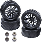 4-Pack HobbyPark 1/10 Scale Off Road Buggy Tires & Wheel Rims Set Front and Rear