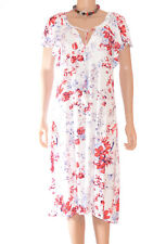 Per Una M&S White Red Lilac Floral Pattern Crinkle Summer Sun Dress Size 8-22 A7