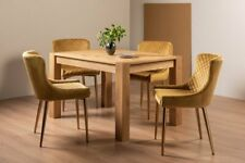 Blake Light Oak 4-6 Seater Dining Table & 4 Cezanne Mustard Velvet Fabric Chairs