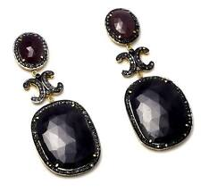 925 Sterling Silver Natural Sapphire & Ruby & White Topaz Victorian earring