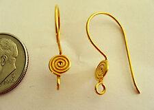3 Pair Bali Sterling Silver Vermeil Swirls Earwires 20mm