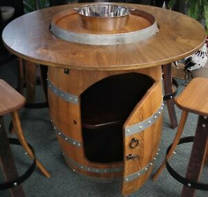 BARREL TABLE  MATCHING BAR CHAIRS WITH BACK REST AUSTRALIAN MADE