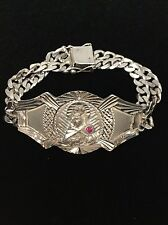 Sterling Silver 925 Madonna Mother of Jesus Christian Chain Bracelet Pink Stone
