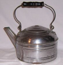 Vintage REVERE CHROME & COPPER TEA KETTLE POT WOODEN HANDLE Has Character!