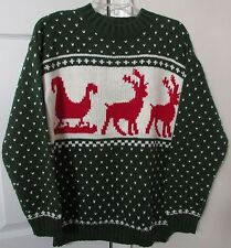 Festified Mens Green Reindeer & Sleigh Ugly Christmas Sweater Size Large $75 NWT