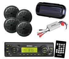 "New Enrock Black Marine Radio USB Input 4x 4"" Black Speakers w/Amp Cover &Remote"