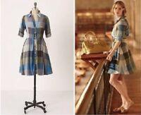 Moulinette Soeurs Reed Blue Gray Plaid Dress Anthropologie Womens Size 0
