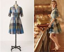 Moulinette Soeurs Reed Blue Gray Plaid Dress Anthropologie Womens Size 0