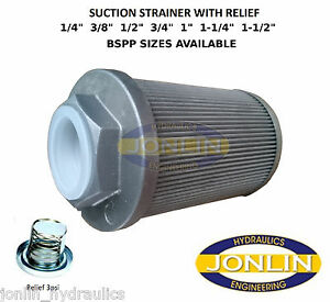 """1/4"""" to 1-1/2"""" BSP HYDRAULIC SUCTION FILTER/STRAINER with 3psi BYPASS RELIEF"""