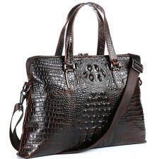 "Men Genuine Leather Briefcase Crocodile Pattern Handbag Business 14"" Laptop Bag"