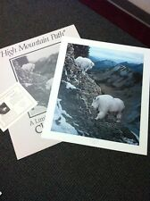 """Charles Frace:  High Mountain Path 1988 (Goats) S/# Lithograph Ed 3000 <30"""" NIF"""