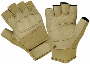 1/2 Finger Military Airsoft Fingerless Tactical Hard Knuckle Shooting Gloves Tan