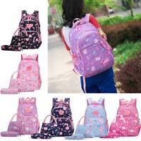 3PCS/Set Girls Bowknot Cat Prints Elementary School Book bag Backpack Lunch Bag