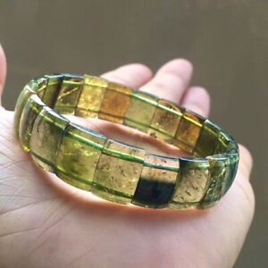 Natural Green Tourmaline Quartz Women Clear Rectangle Bead Bracelet 12.5mm AAAA