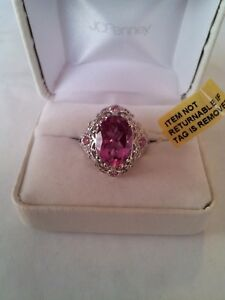 NWT African Lilac Quartz (6.70 cts) Spinel Platinum over SS