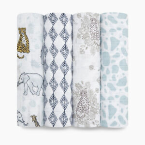 aden + anais Muslin Swaddle Blanket 4 pack Nordstrom Boutique Tiger Jungle Baby