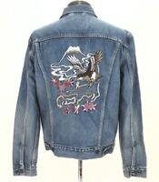 LEVIS Denim Jacket Embroidered Japan Tokyo Eagle Birds Blue Classic Trucker Mens