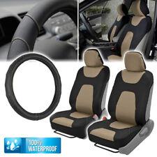 Waterproof Slip On Car Seat Covers Amp Leather Steering Wheel Cover Universal Tan Fits Jeep Cherokee