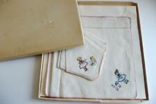 Little Girls Hanky's Teddy Bear Kitty Cat embroidered handkerchiefs Iob